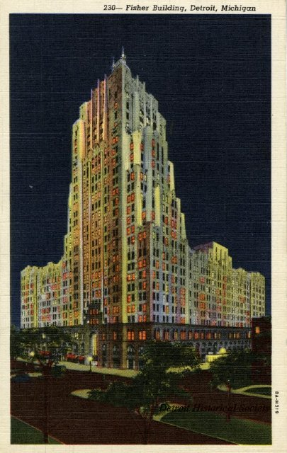 Fisher Building postcard, 1935