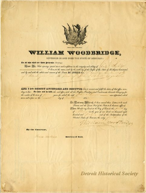 Certificate signed by William Woodbridge, 1840 - 1947.082.272