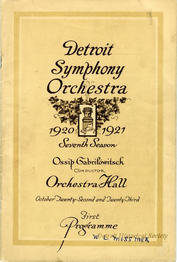 Detroit Symphony Orchestra Program, 1920 – 1949.256.001