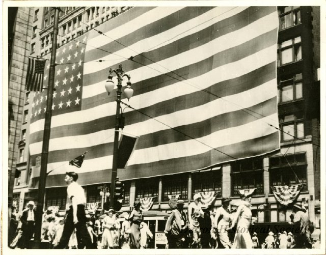 Flag flown on the side of Hudson's, claimed to be the largest in the world at the time, 1934 - 1954.223.042