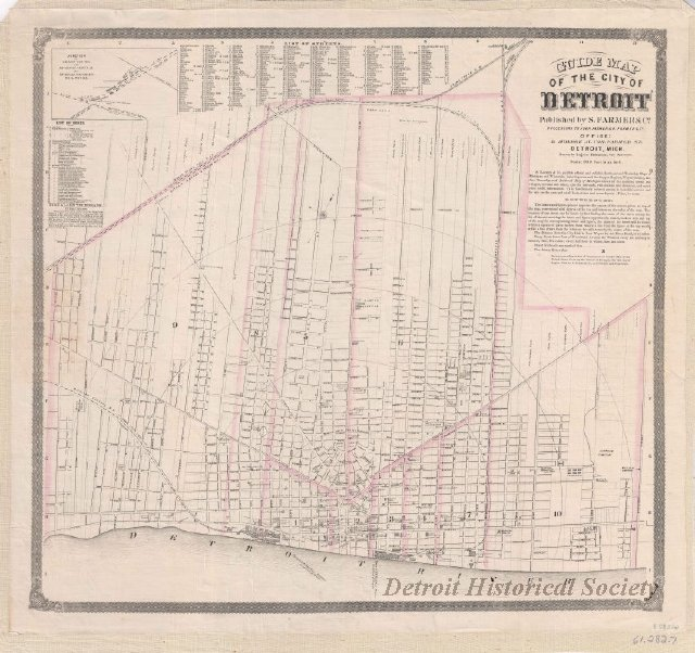 Map of Detroit, listing the names and plots of former ribbon farm owners, 1863 - 1961.282.007