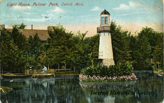Postcard showing view of Palmer Park lake and lighthouse, 1910 - 1988.016.002r