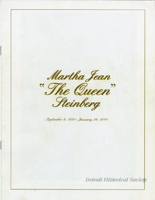 Funeral booklet for Martha Jean Steinberg, 2000 - 2000.006.001
