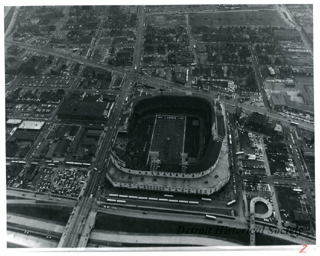 View of Tiger's Stadium from above the Fisher Freeway, 1960s