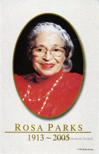 Card from Rosa Parks' memorial service at the Charles H. Wright Museum of African American History