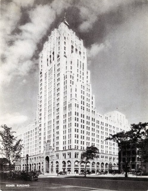 Fisher Building postcard, 1930