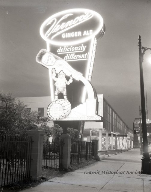 Vernor's Plant sign at night, 1955 - 2009.004.168e