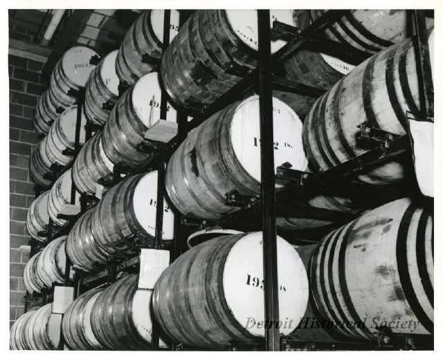 Aging barrels of Vernor's Ginger Ale extract, 1953 - 2009.004.168o