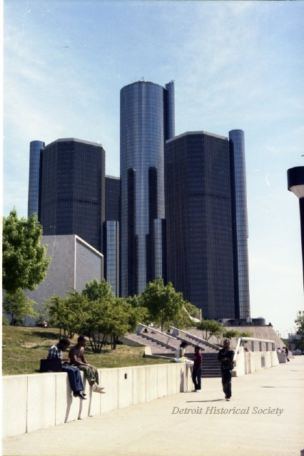 View of the Renaissance Center from the Riverwalk, 1985 - 2009.019.444c