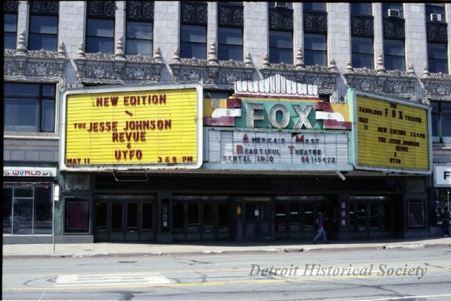 Fox Theatre marquee and entrance, 1985