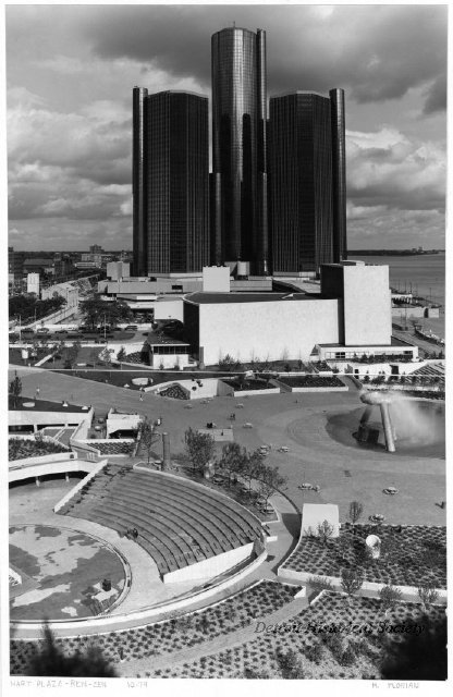 View of the riverfront showing the Renaissance Center, 1979 - 2010.033.255