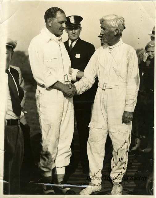 Gar Wood (right) and Kaye Don in their racing overalls, 1932 - 2010.052.002