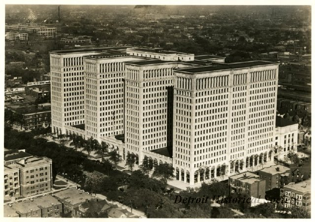 View of the General Motors Building from the Fisher Building, 1928