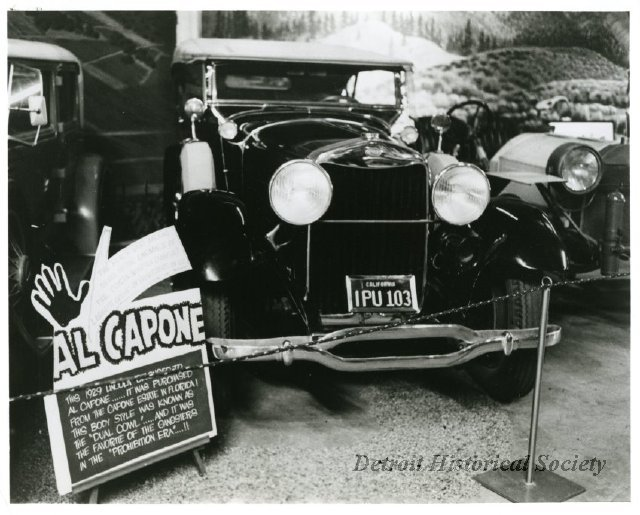 Al Capone's car at the Detroit Auto Show, 1975 - 2012.032.052