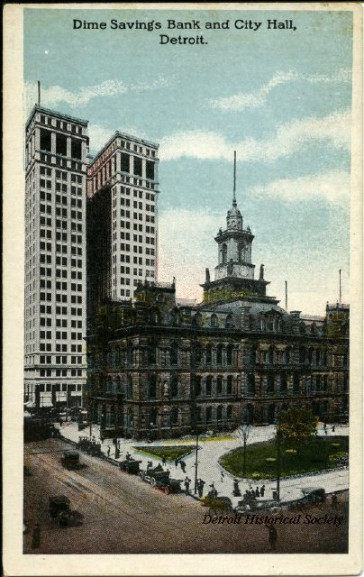 Postcard showing Dime Building and City Hall