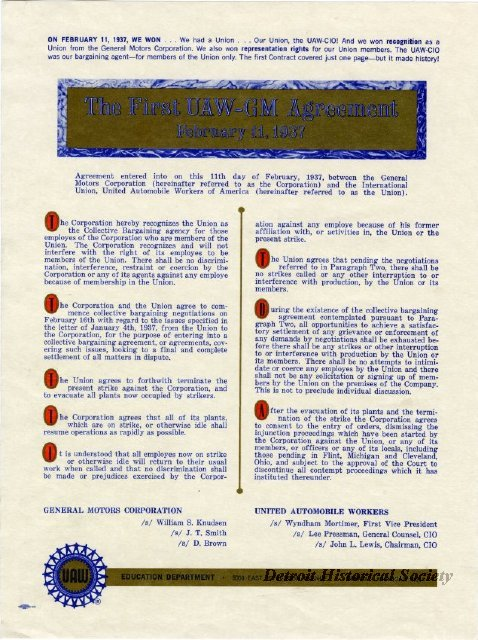 First UAW and General Motors Agreement contract, 1937