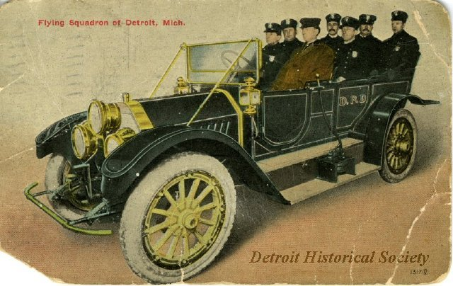 "Postcard showing a Detroit Police ""Flying Squadron"""