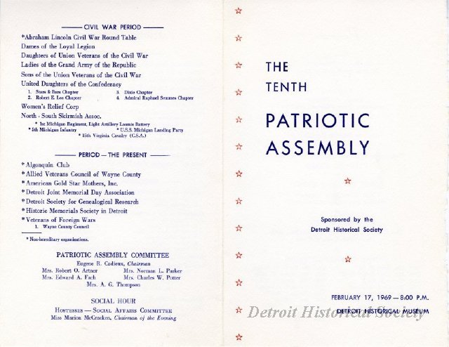 10th Patriotic Assembly program, listing the Algonquin Club