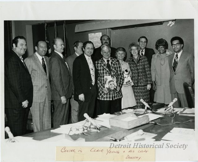 Photo of Detroit City Council, with Maryann Mahaffey 4th from left, 1976 - 2012.046.516