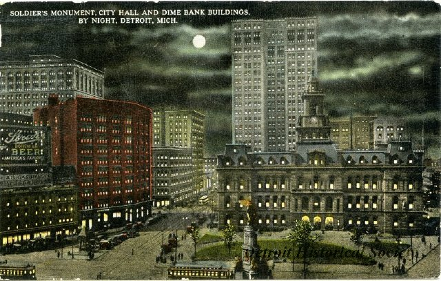 Postcard showing the Hammond Building across from City Hall, 1915