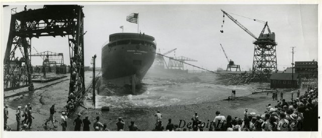 Photo of the launch of the EDMUND FITZGERALD, 1958