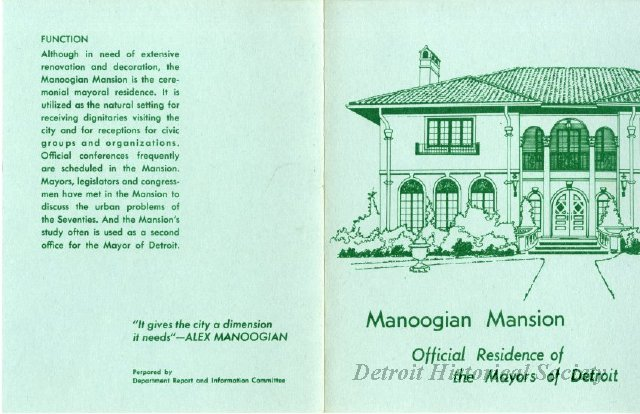 Booklet highlighting the Manoogian Mansion, 1972 - 2013.040.799