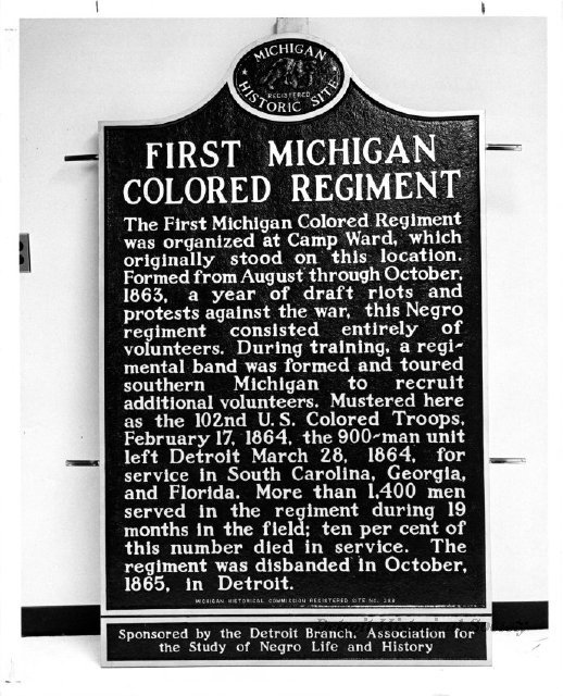 Photo of the historic marker for the First Michigan Colored Regiment, 1968