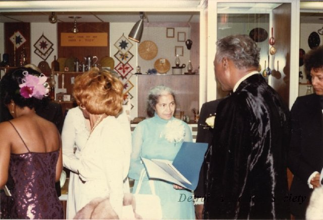 Rosa Parks receiving guests at the Detroit Historical Museum, 1970s - 2013.041.567