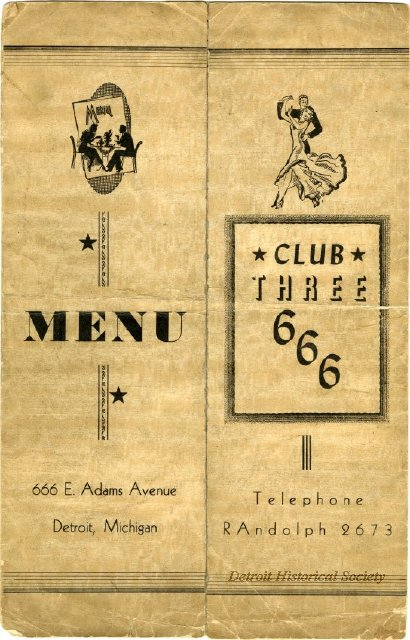 Menu for the Club 666 nightclub, 1945 - 2013.041.611