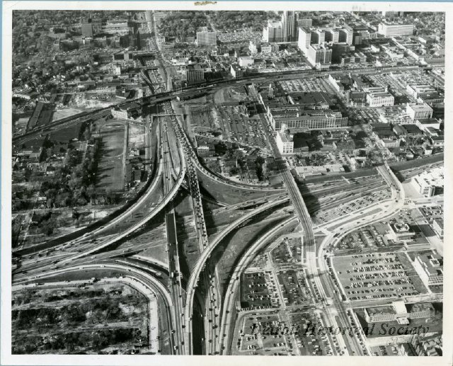 Aerial view of the John C. Lodge Freeway and I-94 interchange, 1965 - 2013.045.422