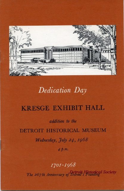 Booklet for opening of Kresge Exhibit Hall, 1968 - 2013.048.636