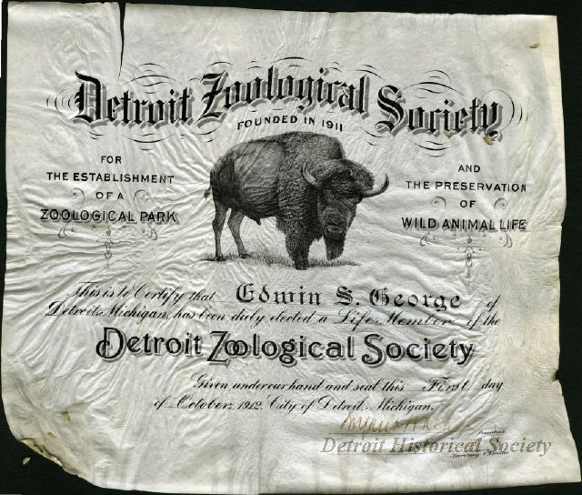 Detroit Zoological Society membership certificate