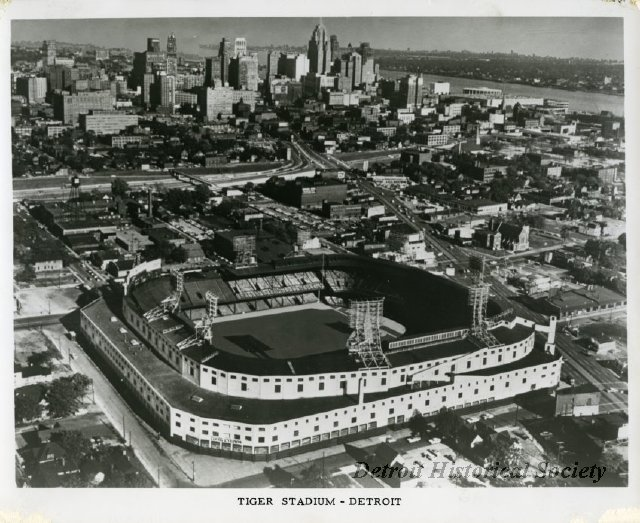 Aerial view of Tiger Stadium, 1962 - 2014.003.076