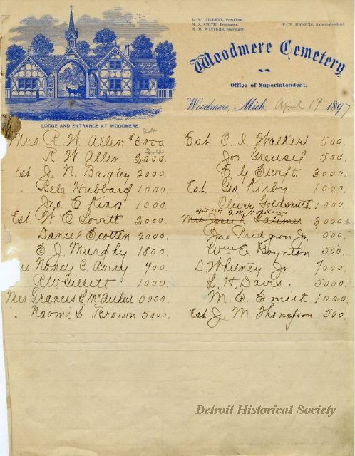 Woodmere Cemetery sales sheet including David Whitney Jr., 1897 - 2014.003.305