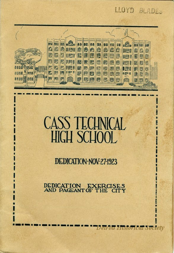 Cass Technical High School Dedication Program, 1923 - 2014.114.542