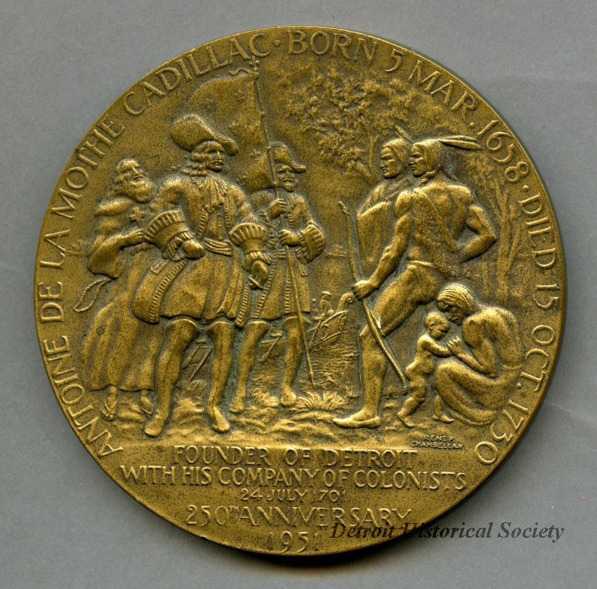 Medallion commemorating 250th Anniversary of the Founding of Detroit, 1951 – 2017.064.006