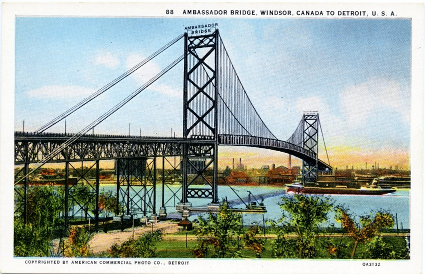 Postcard, Ambassador Bridge, 1929