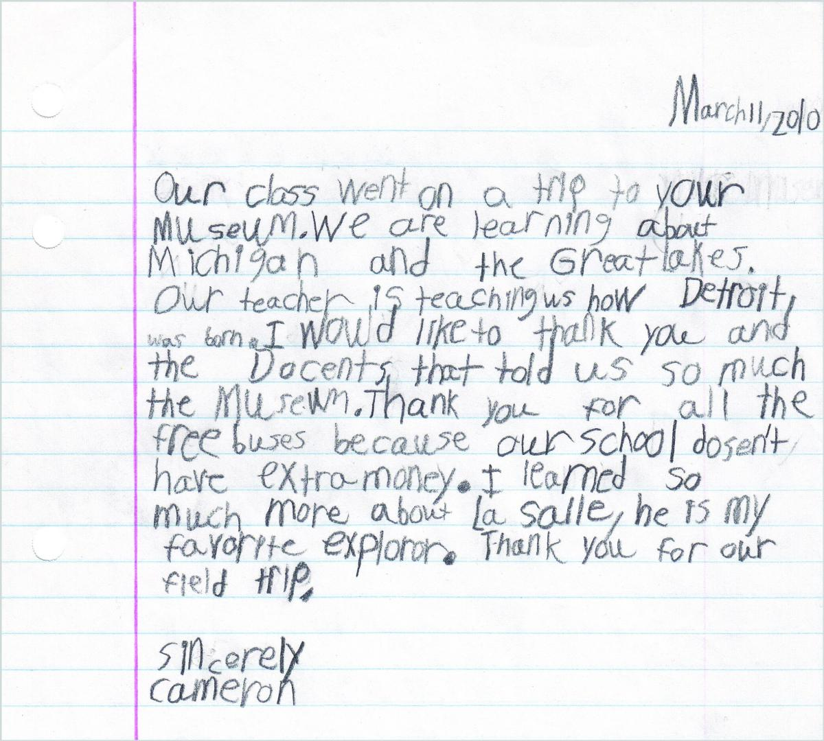 Child's thank you letter to the Detroit Historical Museum